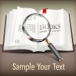 Open book and magnifying glass on table — Stock Vector