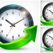 Clock with arrows on white — Image vectorielle
