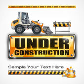 Under construction sign & tractor — Stock Vector