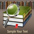 Books and magnifying glass on table — Imagen vectorial