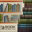 Book stacks on shelf — Stock Vector #25863725