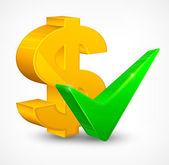 Check mark & dollar — Wektor stockowy