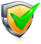 Check mark on shield — Stock Vector