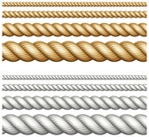 Set of ropes on white — Stock Vector