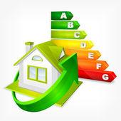 Calificación de eficiencia energética con las flechas y casa — Vector de stock
