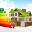 Vector de stock : Energy efficiency rating with big house