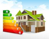 Calificación de eficiencia energética con una casa grande — Vector de stock
