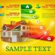 Energy efficiency rating with big house on yellow — 图库矢量图片