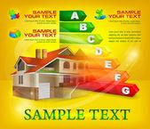 Calificación de eficiencia energética con casa grande en amarillo — Vector de stock