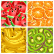 Stock Vector: Four banners with fruits