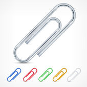 Metallic color paperclips on white — Stock Vector