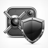 Safe icon & shield — Stock Vector