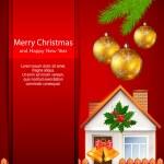 Christmas card with house — Stock Vector
