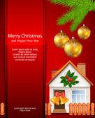 Vánoční přání s domem — Stock vektor