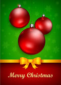 Christmas baubles and bow — Vector de stock