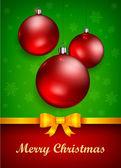 Vánoční ozdoby a luk — Stock vektor