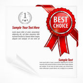 Red award label on paper — Stock Vector
