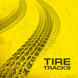 Tire tracks on yellow  — Stock Vector