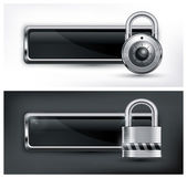 Padlock icon on black — Stock Vector