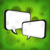 White speech bubbles on green grange — Stock Vector
