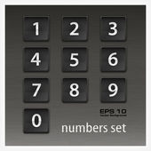 Set of numbers on black — Stock Vector