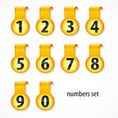 Yellow round numbers on sticker — Stock Vector