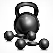 Metallic kettle bell and two dumbbells — Stock Vector