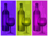 Bottles wine and glasses — Stock Vector