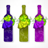Bottle wine with grapes and pattern — Stock Vector
