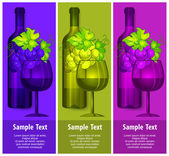Bottle wine with grapes and glasses — Stock Vector