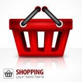 červený nákupní košík — Stock vektor