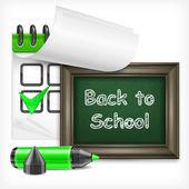School blackboard and felt-tip pen — Stock Vector