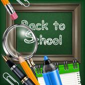 Papeterie et tableau noir école — Vecteur