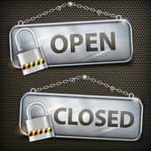 Iron sign hanging open closed — Vector de stock