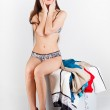 A pretty woman with suitcase — Stock Photo #12813557