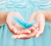 Woman's hands with feather — Stockfoto