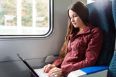 Woman is sitting in the train — Stock Photo