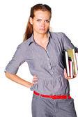 Meisje met boeken — Stockfoto