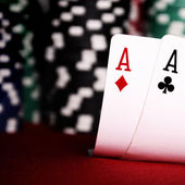 Aces with blurry chips — Zdjęcie stockowe
