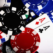Aces with blurry chips — Stok fotoğraf