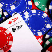 Aces with blurry chips — Stock Photo
