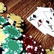 Four aces and poker chips — Stock Photo #50357235