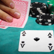 Ace of spades and chips — Stock Photo #50357341
