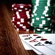 Four aces and poker chips — Stock Photo #50357385