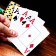 Four aces and poker chips — Stock Photo #50357457