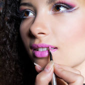 Girl with bright pink lips makeup — Stock Photo