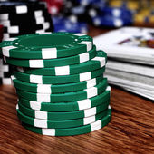 Lot of gambling chips — Stock Photo