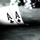 Two aces and chips — Stock Photo