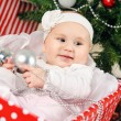Stock Photo: Christmas little baby girl