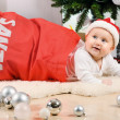 Christmas little baby girl — Stock Photo